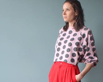 pink polka dot cropped sweatshirt | crop top 1980s small - medium