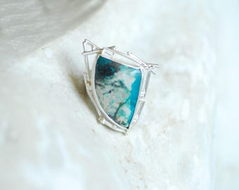 Jack Frost Ring, Blue Gem Silica, Natural Gemstone Stone, Bold Unusual Sterling Silver Jewelry, Wearable Art Sculpture, Winter Icicle Snow