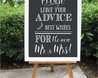 Wedding Please Leave Your Advice and Best Wishes for the Mr & Mrs Custom Chalkboard Decal Wall Decor Words Vinyl Lettering Decal