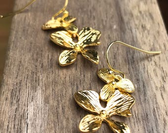 Gold Orchid Earrings or silver