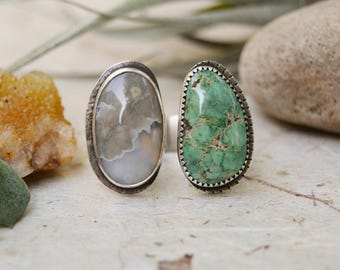 Ocean Jasper Turquoise Ring. Two Stone Ring. Green Double Stone Sterling Silver Adjustable Ring. Statement Ring. One of a Kind.