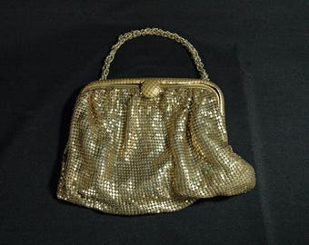 Vintage Gold Mesh Purse with Chain Handle