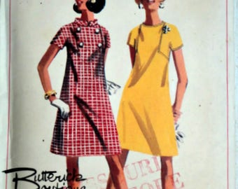 Sewing Pattern, Vintage 60's Butterick 4619 Misses One-Piece Dress, Size 14, Bust 34, Mad Men Mod 1960's Fashion