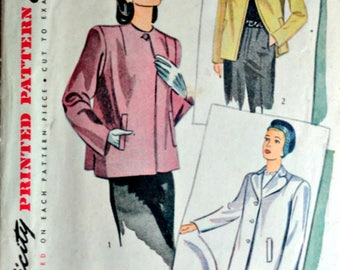 Vintage 40's Sewing Pattern, Simplicity 1219 Misses' Jacket, Size 12, 30 Bust, 1940's WW11 Style Fashion