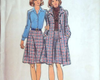 Vintage 70's Butterick 3274 Sewing Pattern, Half Size Coat And Skirt, Size 18 1/2, 41 Bust, Uncut FF