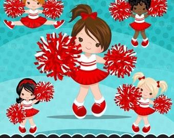 Cheerleader Clipart. Sports Graphics, cheerleader pom pom. Red white cheerleaders, baseball, football, illustration, basketball, commercial