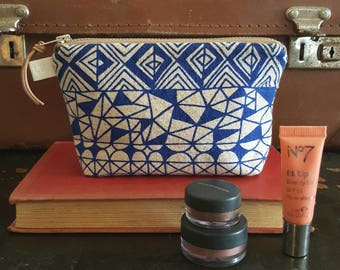Screen printed mini make-up bag, zipped pouch. Ready to ship for Christmas by Lucie Summers