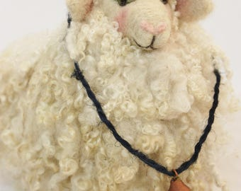 Sheep, Needle Felted Fluffy Sheep # 2612