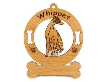 4230 Whippet Sitting Personalized Dog Ornament