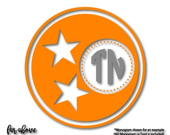 TN Tennessee Tri-star Tristar Monogram Frame (monogram NOT included) SVG, eps, dxf, png, jpg digital cut file for Silhouette or Cricut