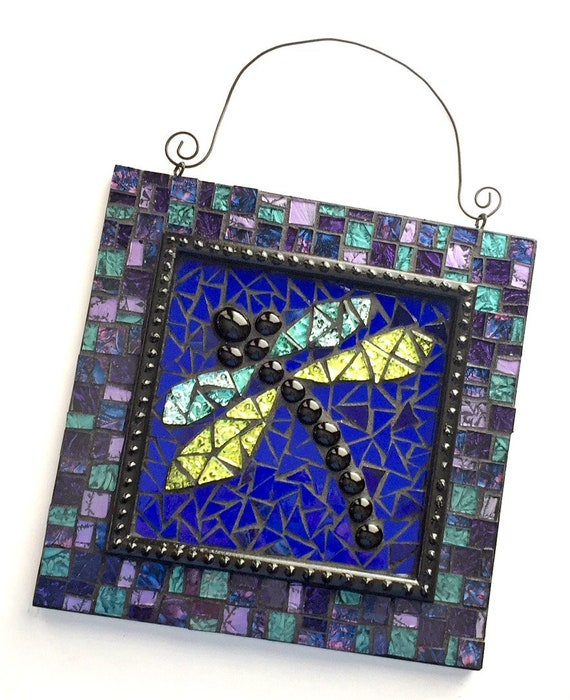 Mosaic Dragonfly Art, Blue Purple Dragonfly Mosaic Wall Hanging, Dragonfly Home Decor, Mosaic Dragonfly Wall Art, Mixed Media Dragonfly Art