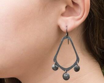Oxidized sterling silver chandelier earrings,