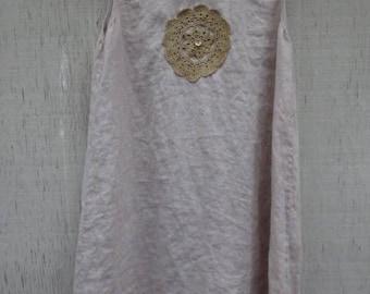 Upcycled Sleeveless Lagenlook Linen Tunic Dress Top Vintage Beach Sundress Festival Women's Clothing Boho Chic