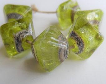 Handmade Lampwork Beads, Handmade Glass Beads, Lime Sparkle