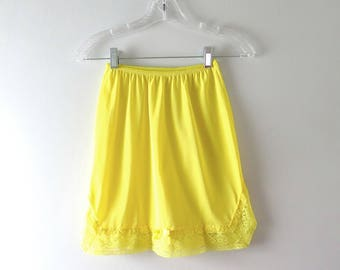 Vintage Yellow Slip | 1960s Lemon Yellow Nylon Mini Slip XS/S