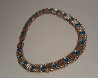 Vintage Gold tone MONET necklace  collar with aqua stones marked