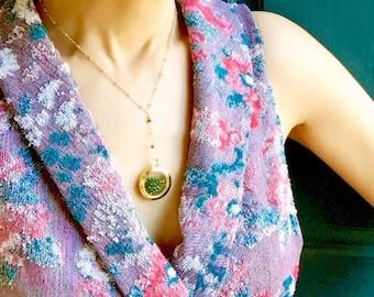 Y necklace, floating locket, glass locket, the holiday Cameron Diaz necklace, bridal necklace, Emerald crystal locket necklace