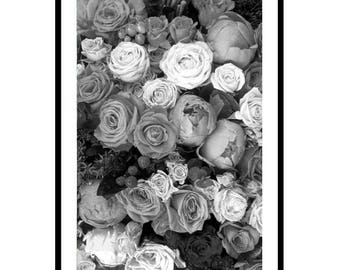 Peonies Print, Roses Print, Roses and Peonies, Floral Photography Print, Peony Print, Floral Print, Peony Art, Black and White Photography