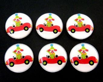 "6 Clown  Buttons.  Handmade Buttons.  3/4"" or 20 mm Sewing Buttons. Clown in Car Sewing Buttons."
