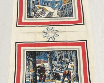 Vintage Towel Gathering Maple Syrup in Vermont Signed