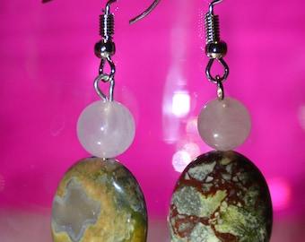 Jasper & Rose Quartz Earrings