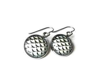 Mermaid, fish or dragon grey scale dangle earrings - Hypoallergenic pure titanium, stainless steel and glass jewelry