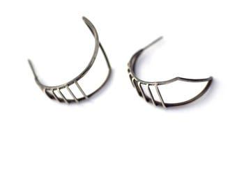 Sterling Silver Statement Earrings, Large Hoop Stud Earrings, Oxidized Silver Earrings, Geometric Jewelry, Sterling Silver Jewelry