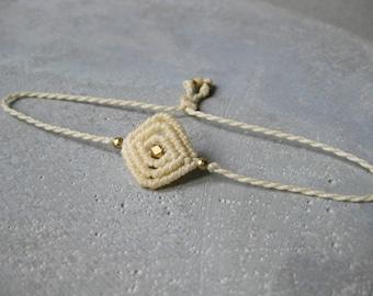 RESERVED . Dainty String Bracelet Braided w/ Brass Beads . Minimalist Small Modern Macrame Jewelry . Fiber Jewellery . Design by .. raïz ..