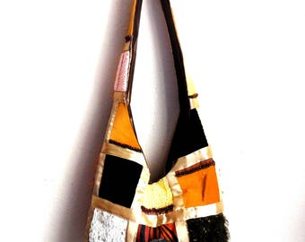Patchwork Style Hand Made Purse...Unique Shoulder Bag...Brown Gold Cream Color Fabric...Everyday Casual Bag..