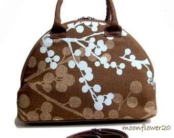 Brown and Blue Dome Satchel Bag With Double Corded Handles and Adjustable Shoulder Strap