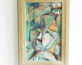 Signed 1950s abstract cubist fine art painting / mid century canvas on board painting / 50s geometric portrait framed wall art