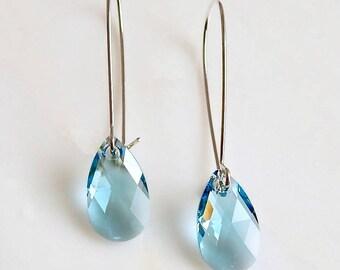 Aquamarine crystal earrings - crystal earrings - Swarovski crystal - light blue earrings - march birthstone