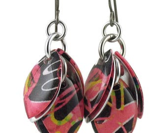Festive Pink and Black Cluster Earrings