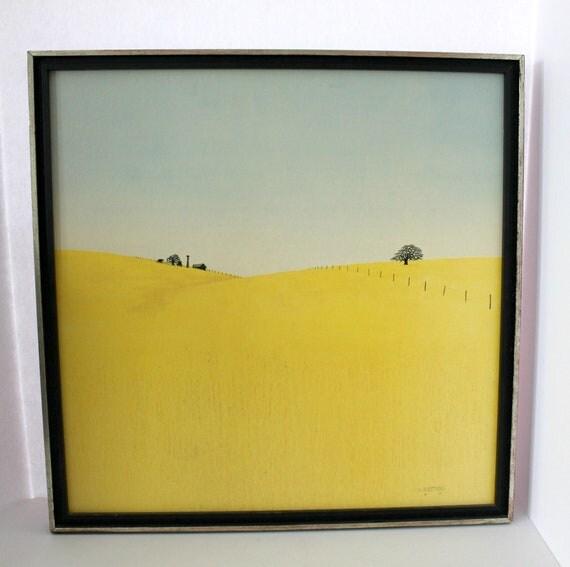 "1968 Duane D Armstrong Print 20"" x 20"", Vintage Field of Grass Wheat, Blue Sky, Farmland, Windmill Scenic Rural Minimalist"
