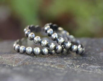 Sterling Silver Stacking Ring Silver Midi Ring Sterling Silver Stackable Rings Silver Beaded Ring Silver Ball Ring Silver Rings Stackers