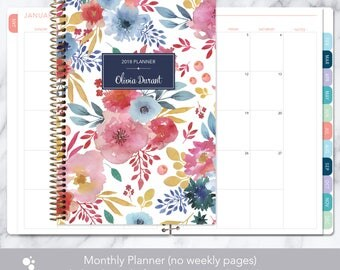 MONTHLY PLANNER | 2018 2019 no weekly view | choose your start month | 12 month calendar monthly tabs | pink blue white watercolor floral