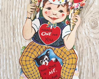 Silly Vintage 1940s Valentine Boy, Ice Cream, Dog, Large Oversized Card with twisting part held together with rivet