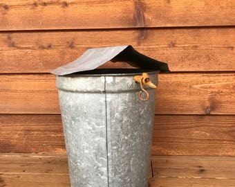 Vintage Galvanized MAPLE SYRUP Bucket Rustic Decor- Maple Sap- Farmhouse Primitive Metal Can with Spout