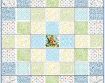 Infant Baby Boy Quilt Kit~Teddy~Dots~Daisies~Butterflies~Fabric~Blue~Yellow~Green~QK#90