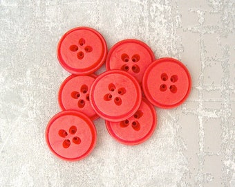 Red Sewing Buttons, 27mm 1-1/8 inch - Crimson Red Vintage Plastic Buttons - 7 VTG Fiesta Red Retro Mod Buttons w/ Seed Shaped Holes PL337 bb