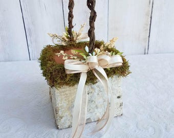 Moss Decorated Square Birch Flower Girl Basket, with Berries & Greenery...Custom Made in your Colors!