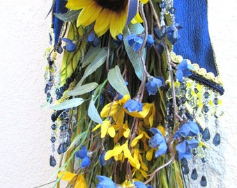 Yellow Sunflower and Navy Blue Victorian Beaded Small Vertical Door Swag Wreath