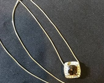 925 sterling silver smoky quartz and  cubic zirconia  necklace Very elegant ,Just BEAUTIFUL