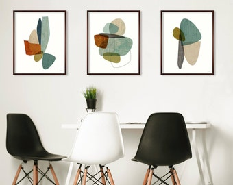 Extra Large Wall Art, Large Print Set of 3,  Mid Century Modern, Abstract Art, Contemporary Art