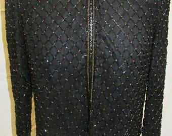 Vintage Beaded Black Silk Jacket New With Tag Deadstock Vintage Bolero Jacket Vintage Stenay Top Size Small/S NWT Filenes
