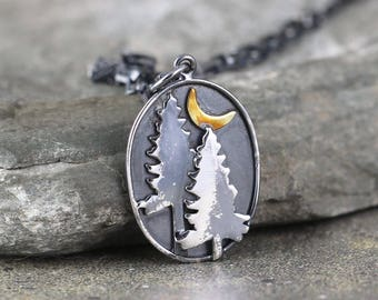 Pine Tree and Crescent Moon Pendant - Sterling Silver Rustic Necklace - Camping and Outdoor - Nature Inspired Jewellery