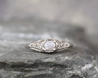 Raw Diamond 14K White Gold Engagement Ring - Antique Filigree Design - Conflict Free Diamond Engagement Rings - April Birthstone Ring