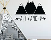 Wall decals for kids, Personalized wall decals for kids, Mountain wall decal, Boys wall decals, Name wall decals, Woodland wall decal RB116
