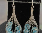 Light Blue Aurora Borealis Crystal Dangle Pierced Earrings, Silver tone, Vintage (W11)
