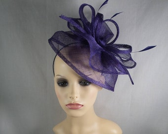 A purple Fascinator/hatinator. Special occasion hat, Wedding hat